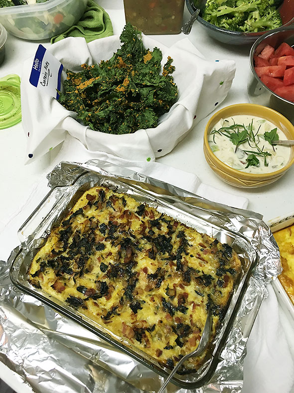 casserole and kale chips