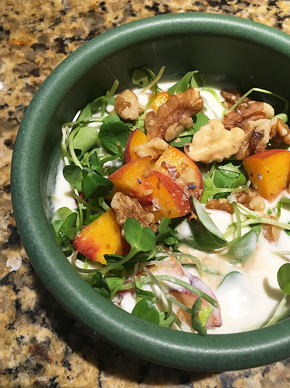 peaches and pea sprouts, walnuts and lavender