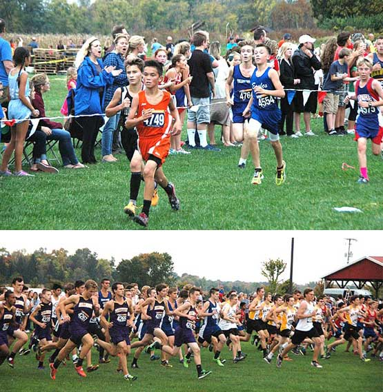 above: McKinney Middle School runner Pete Freeman (4749) ran the two-mile race as part of last week's Yellow Springs Invitational, hosted by Young's Dairy. The McKinney Middle School and YSHS cross-country team also took part in the meet, running boys' and girls' 5Ks. Freeman finished with a time of 13:18. Below: The YSHS boys Bulldogs ran among the pack of hundreds of other runners in the Yellow Springs Invitational. Over 35 schools competed in the meet, with hundreds of runners per race. (photos by Dylan Taylor-Lehman)