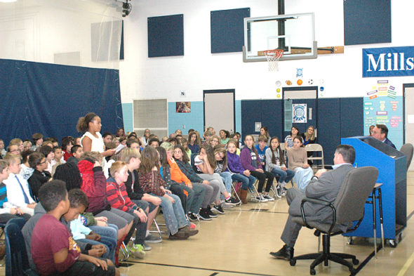 Mills Lawn School recently hosted a Town Hall meeting for two local candidates, Rick Perales and Brian Housh. Fourth, fifth and sixth graders attended, with students from the two older grades posing questions to the candidates. (Photo by Audrey Hackett)