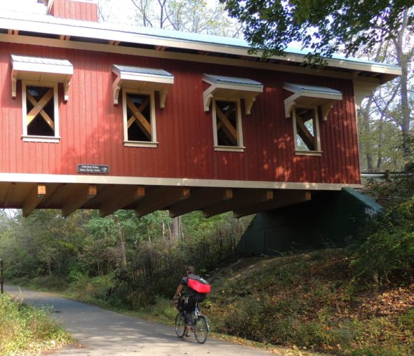 Richard P. Eastman Hyde Road covered bridge, on the Little Miami Scenic Trail just south of Yellow Springs. Image courtesy of Rails-to-Trails Conservancy and Greene County Parks and Trails.