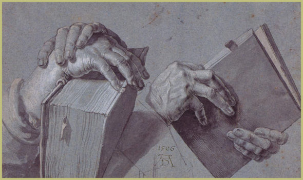 "Albrecht Durer, ""Two Hands Holding a Pair of Books."" (Via Wikiart)"