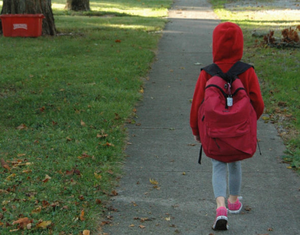 Students at Mills Lawn Elementary School participated in Walk to School Day on Oct. 5.