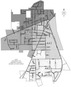 Precinct map of Yellow Springs A map for Yellow Springs precincts 440, 441, 442 and 443 breaks the village down by quadrant. Miami Township precinct 455 includes the eastern portion of the township, or residences east of Grinnell and Bryan Park roads. Precinct 456 includes the western half of the township. (Courtesy of Greene County Board of Elections)
