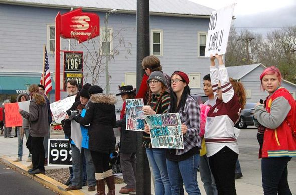 A weekly protest against the Dakota Access Pipeline takes place each Friday at the Yellow Springs Speedway gas station. Shown above are some of the about 35 protestors who took part in last week's event.