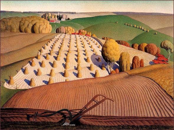 "Grant Wood, ""Fall Plowing,"" 1931. Via Wikiart.org."