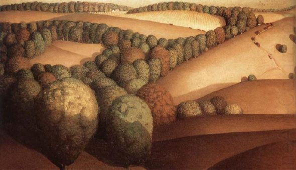 """""""Near the Sunset,"""" by Grant Wood, date unknown. Via Wikiart."""