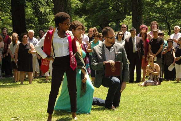 "The 50 members of Antioch College's Class of 2016, the second graduating class of the revived college, celebrated their commencement last June. Newly minted graduates Jasmine Lindquist, Sylvia Newman and Ozrich Sable crossed ""the Mound"" in their own dramatic ways, carrying on an Antioch tradition. (Photo by Matt Minde)"
