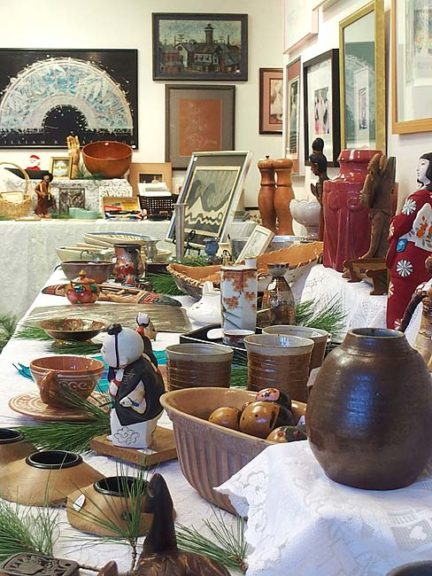 """The Holiday Art Jumble returns to Yellow Springs for its fifth year. A fundraiser for the Yellow Springs Arts Council, the """"grand reshuffling"""" of art and artifacts is being held in the council's Corry Street gallery during regular gallery hours, 1–4 p.m. Wednesdays–Sundays, now through Dec. 31. It is closed Nov. 24 and Dec. 25. Items will continue to be accepted through Dec. 20. (Submitted photo by Corrine Bayraktaroglu)"""