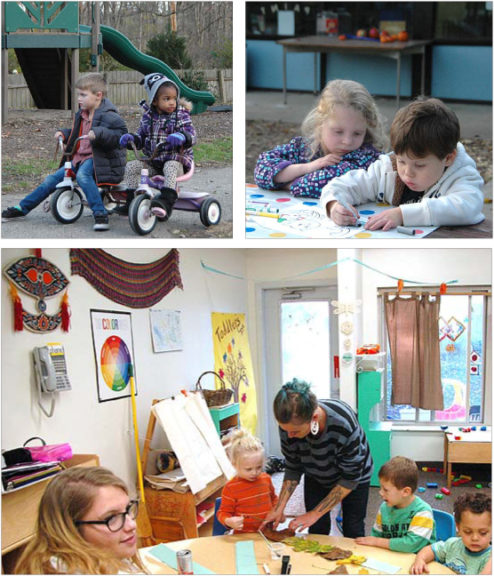 """top left: Ryland Fain and Kyla Randolph recently enjoyed a ride in one of the center's outdoor play areas.top right: Lilly Brown and Jordan Andrade played quietly at the picnic table outside, bonding over art.above: The Children's Center has hired several new teachers this year. Pictured here guiding the kids in making """"leaf crowns"""" from leaves gathered outside are teachers Logan Rapp (seated) and Ashley Ark, with, from left, August Frederick Townes Luckett-Maus, Juna Grzelak and David Carlson. (All photos by Audrey Hackett)"""