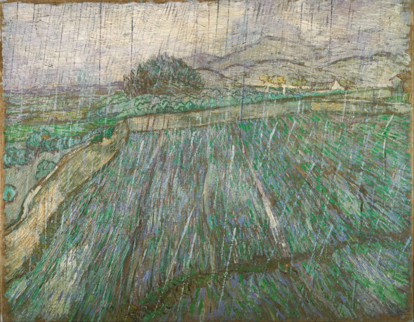 "Vincent van Gogh, ""Enclosed Wheat Field in the Rain,"" 1889. Via Wikipedia."