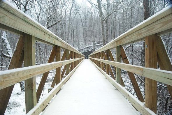 The new bridge in Glen Helen spans the old dam area. (Photos by Aaron Zaremsky)
