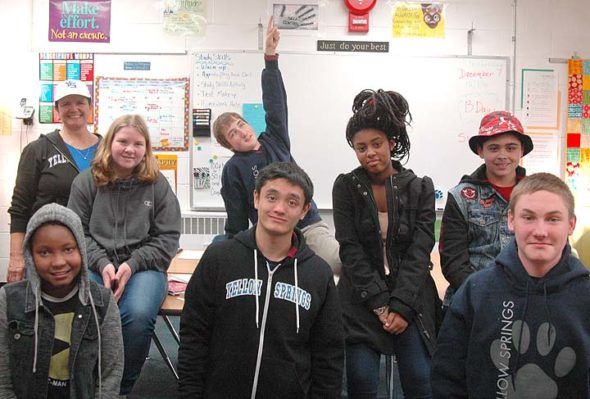 Students in a math class at Yellow Springs High School have launch a small business, YS Spirit Wear, to sell items that promote Bulldog Spirit. Shown above are, front row from left, Kelli B axter, Josh Lustre and Dyllan VanHoose; back row, teacher Donna Haller, Destiny Jent, Lucas Samsom, Nicole Mayer and Eli Cordell.