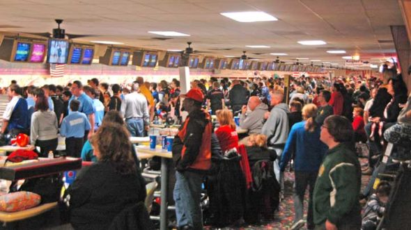 The YSHS bowling team was one of 52 teams crammed into Beaver-Vu lanes last week as part of tournament hosted by Wright State University's bowling program. So packed was the tournament that spectators brought stepping stools and homemade periscopes. Coach Matt Cole said that organizers were very happy to introduce a first-year team into the fold.  (Photo by Dylan Taylor-Lehman)
