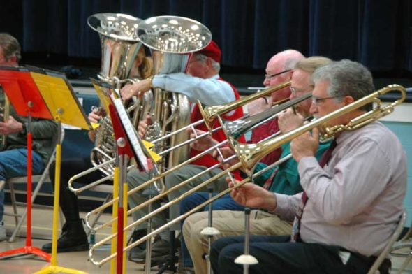 The Yellow Springs Community Band performed a selection of holiday music for its annual Winter Holiday concert. (Photo by Dylan Taylor-Lehman)