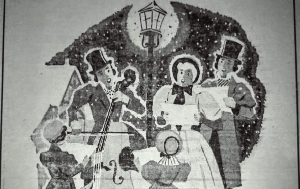 The Community carol sing will be held Sunday, Dec. 18, 3 p.m., in the Mills Park Hotel lobby. (Art from the Dec. 20, 1956 issue of the YS News)