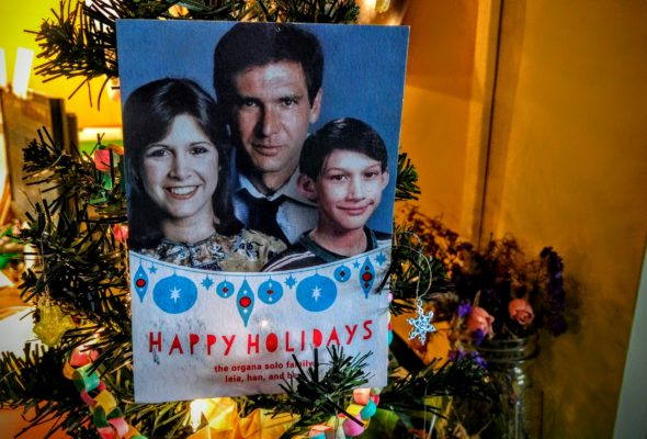 A holiday greeting from the Organa-Solo clan, received this week after news of the death of Carrie Fisher.
