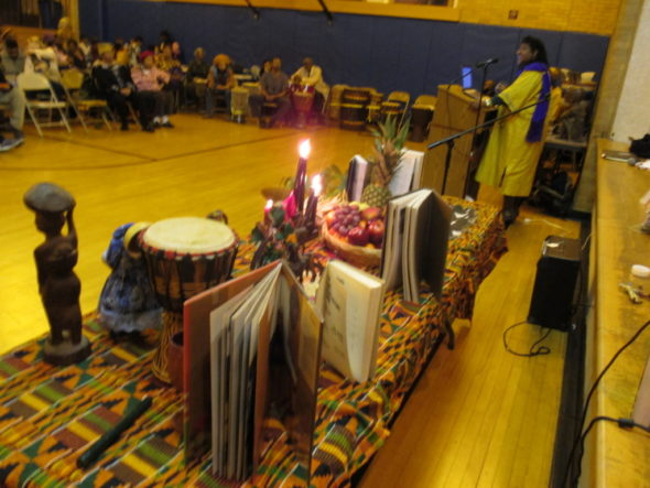 The annual YS Kwanzaa celebration will be held on Dec. 29. Pictured is the 2014 celebration's display during the Griot Award presentation. (Photo by Basim Blunt)