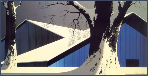 "Eyvind Earle, ""Winter Quiet,"" 1980. Via Wikiart."