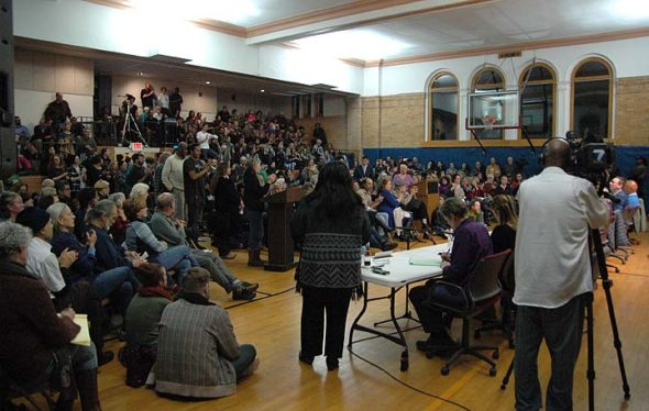 The overflow crowd during the special Council meeting in the Bryan Center gym Tuesday night. (Photo by Dylan Taylor-Lehman)