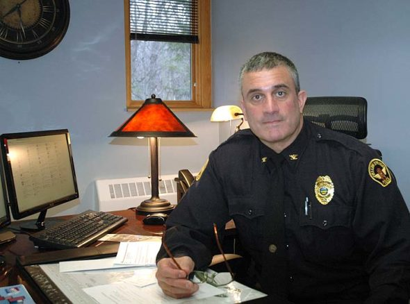 Officer Brian Carlson, a six-year veteran of the Yellow Springs police department, was named interim police chief on Monday, Jan. 23. He fills the vacancy left by former Chief David Hale, who resigned three weeks ago following the events of the New Year's Eve Ball Drop. (Photo by Audrey Hackett)