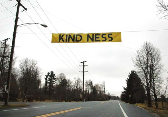 "The Village of Yellow Springs' Arts and Culture Commission has hung banners on the north and south ends of Xenia Avenue in Yellow Springs. The banners' message, ""Kind Ness,"" is intended to spur conversation and reflection about community values. (Photo by Dylan Taylor-Lehman)"