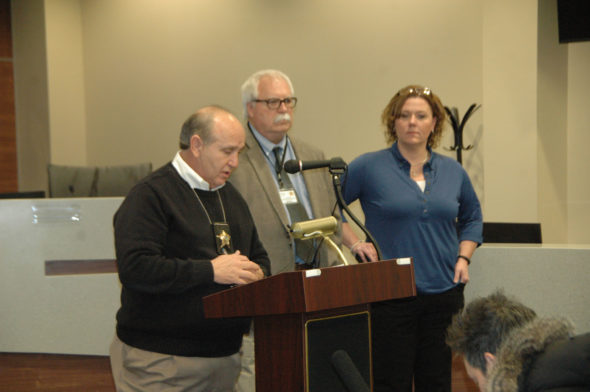 Greene County Sheriff Gene Fischer leads a press conference on Wednesday afternoon in Xenia. Standing next to Fischer is Captain Dave Tidd, who is overseeing the investigation, and Kelly Edwards, the lead detective on the case.