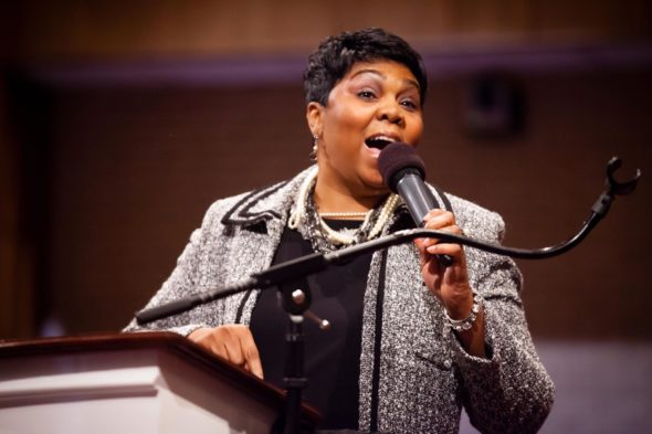 Rev. Traci Blackmon, acting executive director of the United Church of Christ Justice and Wellness Ministries, will speak at Antioch College on Tues., Jan. 17,  at 7 p.m. (Photo from UCC website)