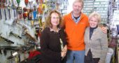 Yellow Springs has had the same hardware more than 90 years, yet it has changed hands only three times. Kathy Macklemore, left, who has managed the store for 16 years, is pictured here with the new owners of Yellow Springs Hardware, Shep Anderson and Gilah Pomeranz. The couple took over at the beginning of January, though Macklemore will stay on as manager. (Photo by Matt Minde)
