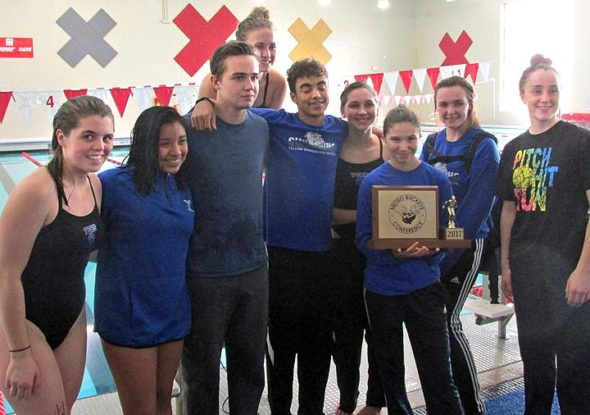 From left: YSHS Bulldog swimmers Hailey Smith, Sara Zendlovitz, Tristan Giardullo, Olivia Chick, David Walker, Eden Spriggs, Jude Meekin, Lauryn DeWine and Hannah Morrison celebrate the girls' team's recent Metro Buckeye Conference championship, celebrating their second year in a row as conference champs. (Submitted photo)