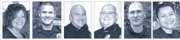 """Officers Naomi Watson, Josh Knapp, Jeff Beam, Mark Charles, Dave Meister and Lucianna Lieff are a few of the 10 officers currently employed by the Yellow Springs Police Department. Many of the officers came to police work as a second career, and many have appreciatively referenced the """"slower pace of life in Yellow Springs"""" that allows them to become more involved with each case they investigate. (News file photos)"""