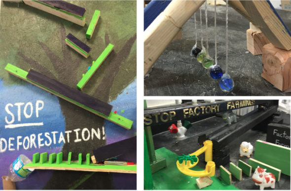 A few of the Rube Goldberg devices that McKinney students will present on Friday, Feb. 3. (Submitted photo)
