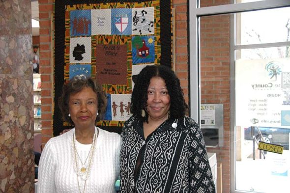Pictured above is quilt maker Maxine Thomas, left, with Faith Patterson's daughter, Karen Patterson. (Photo by Audrey Hackett)