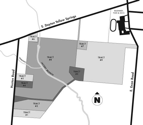 The 267-acre Arnovitz property is slated to go to auction, Thursday, March 16, in nine parcels. (map details courtesy of Village Council, Tecumseh Land Trust and Google Maps)