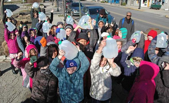 Forty-four second-graders walked 3.7 miles over two days to simulate the average walk that many women and children in developing countries must make on a daily basis to get water for everyday needs. (Photo by Robert Hasek)