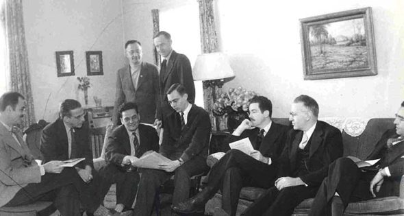 "In its early years, the Antioch Review was edited by an editorial board, including the professors and administrators pictured here, in an archival photo from 1944. The Review recently published a two-volume 75th anniversary issue collecting ""firsts, famous and favorites"" from 1941 to the present. (Submitted photo courtesy of Antioch Review)"