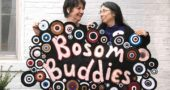 """A new Yellow Springs Arts Council show, """"Bosom Buddies,"""" opens on Friday, April 21, with a reception from 6 to 9 p.m. The show was inspired by the art created by Corrine Bayraktaroglu and friends during her bout with cancer. Other community members are invited to submit to the show art that's linked to breast cancer. Shown above are Bayraktaroglu and her good friend, Nancy Mellon, who together are known as the JafaGirls. (Photo by Carol Simmons)"""