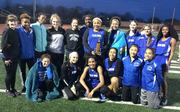 The YSHS girls track and field team posed with their second-place trophy after their impressive finish at the recent Waynesville Invitational. The team consists of, in the back row, from left: Lydia Fleetman, Keli Baxter, Stacia Strodes, Danielle Worsham, Aliza Skinner, Amani Wagner, Jasmine Davidson, Olivia Mitchell, Ivy Tebbe, Head Girls Coach Isabelle Dierauer and True Hall. In the front row, from left, are: Jude Meekin, Payden Kegley, Ayanna Madison, Dede Cheatom, Olivia Brintlinger-Conn and Julian Roberts. Not pictured are coaches Peter Dierauer, John Gudgel and Valerie Kirk.  (Submitted photo)