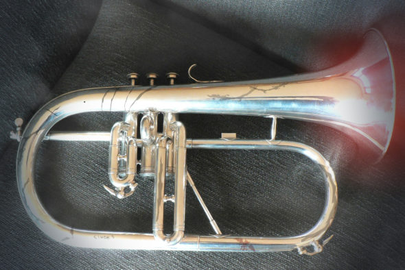 The 200-year-old flugelhorn recently found hidden in the walls of Antioch Hall.