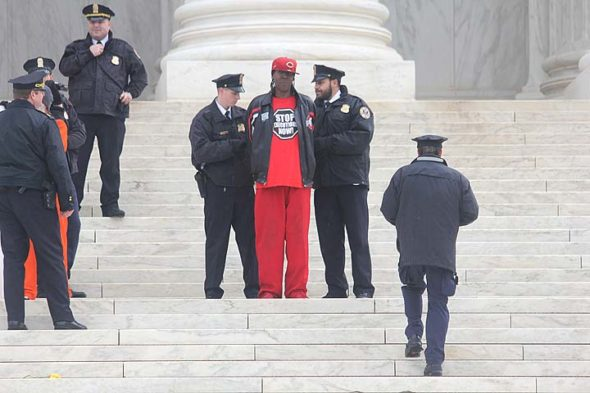 Derrick Jamison, an exonerated former Ohio death row prisoner, is shown being arrested in January of this year during a protest of the death penalty in front of the U.S. Supreme Court. Jamison will be a speaker this Saturday, May 5, at 5 p.m. at 400 Enon Road, at an event sponsored by Ohioans to Stop Executions. (submitted photo courtesy of Abolitionist Action Committee)