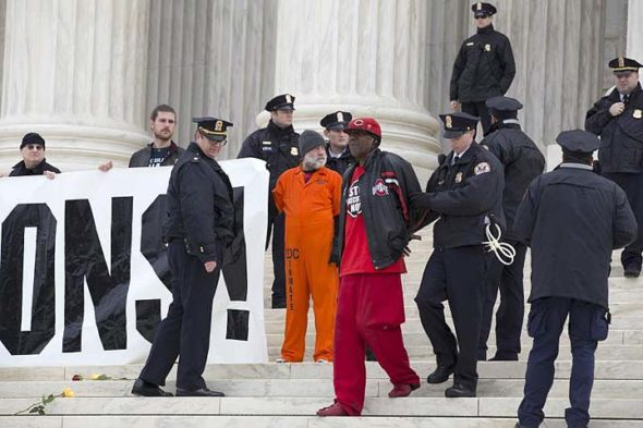 Derrick Jamison of Middletown is one of the exonerated former death row prisoners to speak at this Saturday's open house on the death penalty. He's shown in January of this year after being arrested at the U.S. Supreme Court during a protest against the death penalty. (Photo courtesy of  JP Keenan/sojo.net)