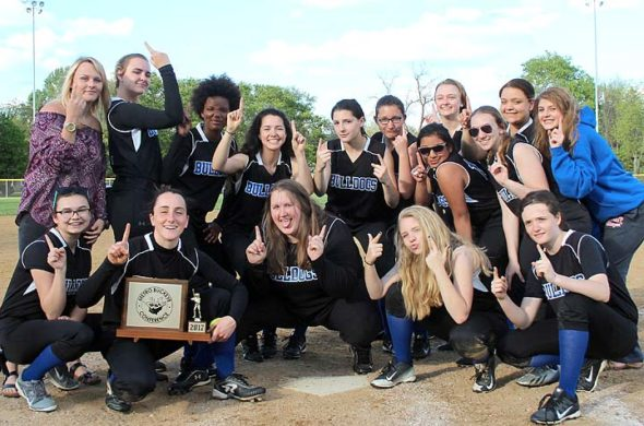For the first time ever, the YSHS softball team clinched the MBC championship. The team posed exuberantly following a victory against Middletown Christian on Thursday. The victory also capped off an undefeated MBC record of 6–0. Back row: Kelsie Lemons, Lauryn DeWine, Brielle Willis, Kadie Lafferty, Zoe Lafferty, Jorie Sieck, Janine Stover, Victoria Willis. Crouched: Sara Zendlovitz, Janine Stover, Ashlyne Griffis. Ashlyne Griffis. Front row: Cierra Richeson, Hannah Morrison, Danny Horton, Elly Kumbusky, Gracie Price. (submitted photo)