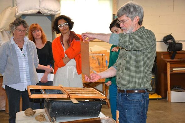 The second annual Ohayo Ohio event will include a Washi papermaking workshop with Antioch alum and MacArthur Fellow Tim Barrett, who studied Japanese printmaking in Japan. He is shown here with participants at last year's event. (Submitted Photo)