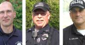 The three candidates who have applied for the position of Yellow Springs chief of police are, from left, officers Dave Meister and Timothy Spradlin, and Interim Chief Brian Carlson. The search was limited to internal candidates. (Left and right: YS News archive photos; center: Submitted)