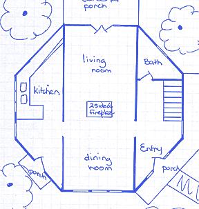 The Yellow Springs Octagon Hosue floor plan.