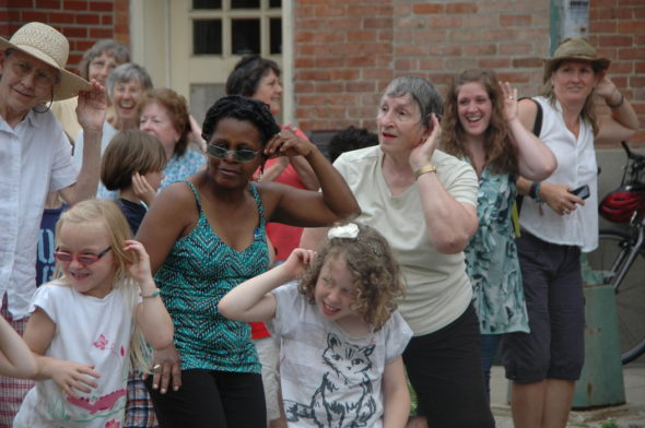 "The Senior Center will perform its fourth annual ""flash mob"" dance on Wednesday, May 31; the community is invited to participate. Pictured are dancers from the first flash mob in 2014. (Photo by Suzanne Szempruch)"
