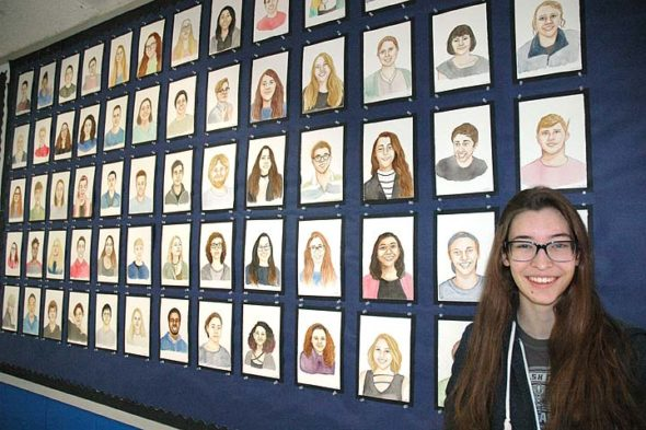 Callie Smith drew portraits of her fellow seniors, for her senior project. (photo by Diane Chiddister)