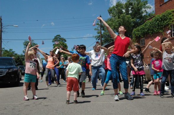 The annual Senior Center flash mob dance was held May 31. (Photo by Suzanne Szempruch)