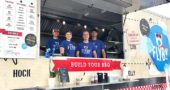"David Butcher, a 2015 YSHS graduate, is the owner-operator of Flyby BBQ, a flourishing area food truck business he started last year. Butcher, pictured center front with his crew, will be rolling into town on Wednesday, Aug. 16, to offer ""build-your-own"" barbecue in the Nipper's Corner parking lot, from 11 a.m. until the food is gone. (Submitted photo)"