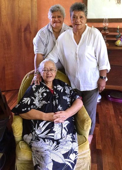 """Three Maori tribal elders of the Waitaha nation are visiting the village at the invitation of tribal priest Raymond Ruka, who lives in the Yellow Springs area. While here, the women, who are members of the Waitaha Grandmothers Executive Council, will offer prayers, earth blessings and storytelling, including at the local schools. Standing, from left, is Kathleen Ruka Wheremate and JaneMihingarangiRuka. Seated is Rosina """"Rosie""""Huriwai. (Photo by Aaron Saari)"""